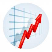 Upward trending arrow on a business graph — Stock Vector