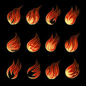 Colorful Vector Fire Icon Set — Stock Vector