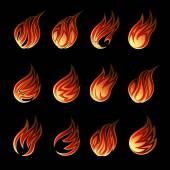 Colorful Vector Fire Icon Set — Stock Vector