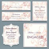 Variety Wedding Invitation Card Elemets — Stock Vector