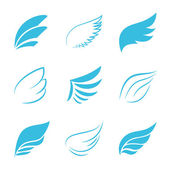Variety Vector Blue Wings on White Background — Stock Vector