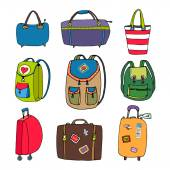 Variety Luggage  Bags  Backpacks and Suitcases — Stock Vector