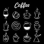 Set of coffee icons on black — Stock Vector