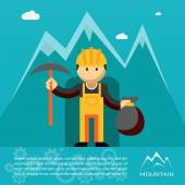 Mountain worker with pick and sack of gold — Stock Vector