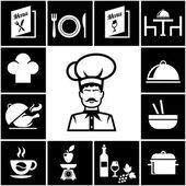 Set of restaurant icons in white on black — Stock Vector