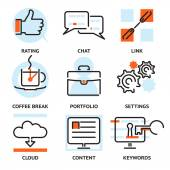 Set of SEO contour icons — Stock Vector