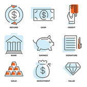 Set of money and value flat line vector icons — Stock Vector