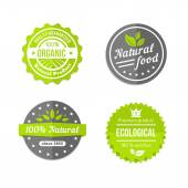 Organic natural and eco food icons set — Stock Vector