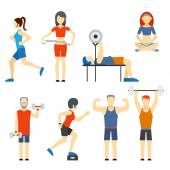 Set of people exercising at the gym — Stock Vector