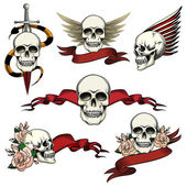 Set of commemorative skull icons — Stock Vector