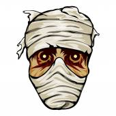 Ghoulish face of a mummy wrapped in bandages — Stock Vector