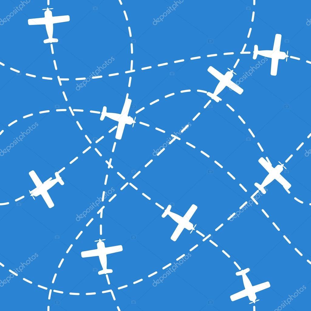 飞机在蓝色无缝背景