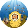 Diver with treasure chest — Stock Vector #52942297