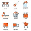 Set of shopping and retail outline vector icons — Stock Vector