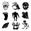 Постер, плакат: Set of ghost ghouls and alien icons