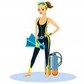 Beautiful athletic young scuba diver — Stock Vector