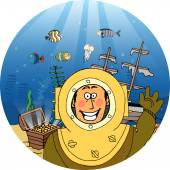 Diver with treasure chest — Stock Vector