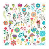 Elementi floreali disegnati a mano — Vettoriale Stock
