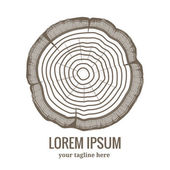 Annual tree growth rings logo icon — Stock Vector