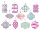 Set of cute floral tags and labels with hearts — Stock Vector