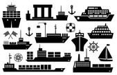 Set of ships and boats icons — Stock Vector