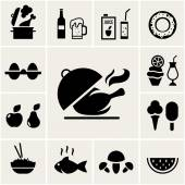 Set of black silhouette food icons — Stock Vector