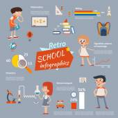 Vintage school infographics — Stock Vector