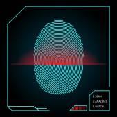 Fingerprint scanning and identification — Stock Vector