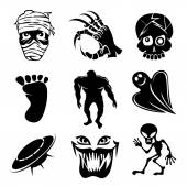 Set of ghost  ghouls and alien icons — Stock Vector