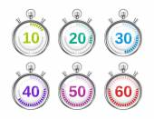 Six Colorful Stopwatches with Varying Times — Stock Vector