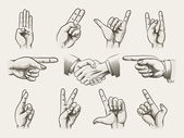 Set of vintage style hand gestures — Stock Vector