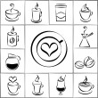 Set of freehand doodle sketch coffee icons — Stock Vector #53464279
