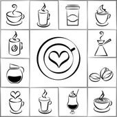 Set of freehand doodle sketch coffee icons — Stock Vector