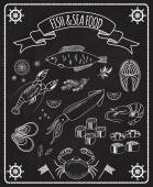 Fish and seafood blackboard vector elements — Stock vektor