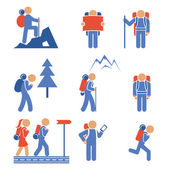 Set of colored vector hiking icons — Stock Vector