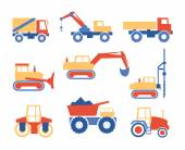 Various Trucks and Construction Machinery Graphics — Stock Vector