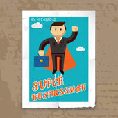 Super Businessman with Cape and Briefcase Graphic — Stock Vector