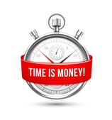 Stopwatch with Red Banner Stating Time is Money — Stock Vector