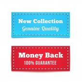 New Collection and Money Back Tag Badges — Stock Vector
