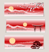 Three vector Japanese landscape banners — Stock Vector