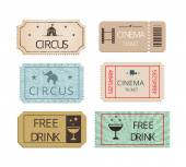 Vintage cinema  circus and party tickets set — Vettoriale Stock