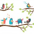 Set of colorful cartoon birds on branches — Vecteur #53896939