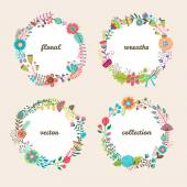 Set of four colorful vector floral wreaths — Stock Vector