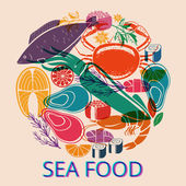 Seafood Graphic with Various Fish and Shellfish — Stock Vector