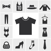 Various Monochrome Clothing Themed Graphics — Stock Vector