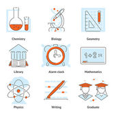 Various School Themed Graphic Icons — Stock Vector