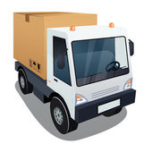 Delivery truck with a big box — Stock Vector