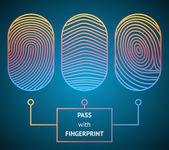Pass with Fingerprint — Stock Vector