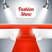 Fashion Show catwalk with a red carpet — Stock Vector
