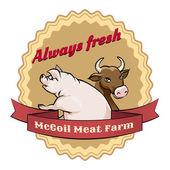 McCoil Meat Farm label - Always fresh — Stock Vector